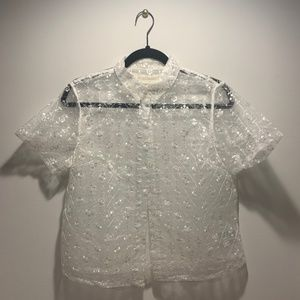 Urban Outfitters  Molly Embroidered Mesh Button-Do